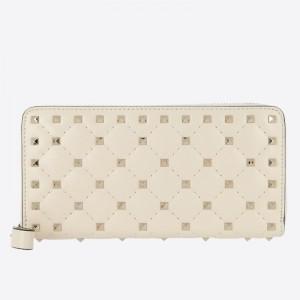 Valentino Rockstud Spike Zip Wallet In White Lambskin