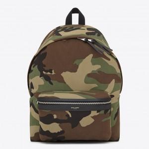 Saint Laurent City Backpack In Gabardine Camouflage