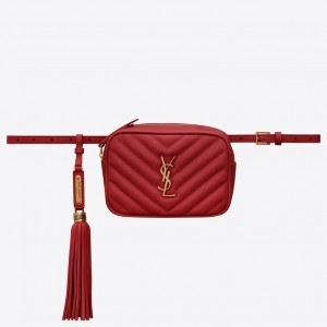 Saint Laurent Lou Belt Bag In Red Matelasse Leather