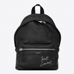 Saint Laurent Black Mini Toy City Embroidered Backpack