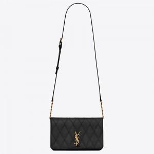 Saint Laurent Angie Chain Bag In Black Diamond Lambskin