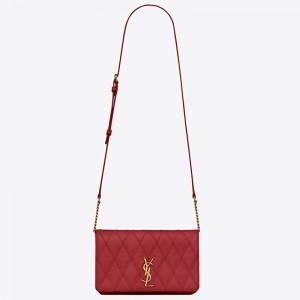Saint Laurent Angie Chain Bag In Red Diamond Lambskin