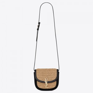 Saint Laurent Kaia Small Bag In Raffia and Leather
