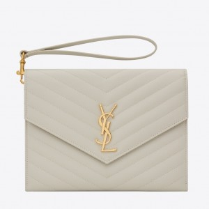 Saint Laurent Monogram Clutch In White Grained Leather