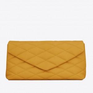 Saint Laurent Sade Puffer Envelope Clutch In Yellow Lambskin