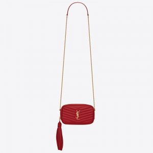 Saint Laurent Lou Mini Bag In Red Grained Leather