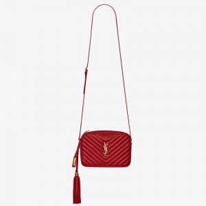 Saint Laurent Lou Camera Bag In Red Leather