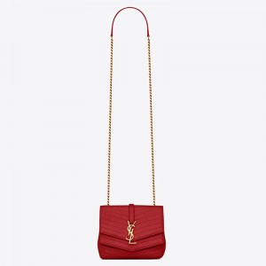 Saint Laurent Small Sulpice Bag In Red Matelasse Leather