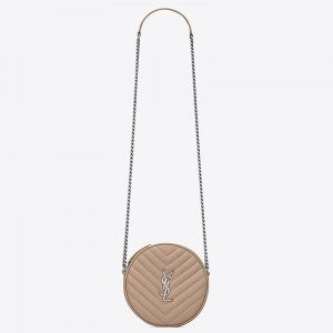 Saint Laurent Vinyle Round Camera Bag In Beige Grained Leather