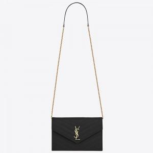 Saint Laurent WOC Envelope Chain Wallet In Black Leather