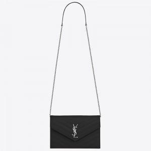 Saint Laurent WOC Envelope Chain Wallet In Noir Leather