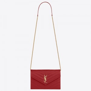 Saint Laurent WOC Envelope Chain Wallet In Red Leather