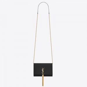 Saint Laurent WOC Kate Tassel Chain Wallet In Black Calfskin
