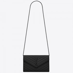 Saint Laurent WOC Monogram Chain Wallet All Black