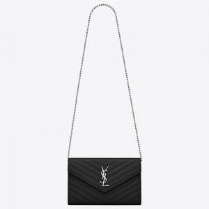 Saint Laurent WOC Monogram Chain Wallet In Noir Leather