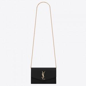 Saint Laurent WOC Uptown Chain Wallet In Black Leather