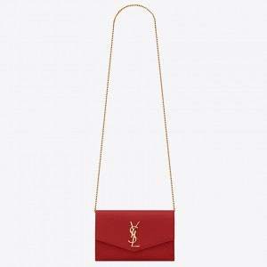 Saint Laurent WOC Uptown Chain Wallet In Red Leather