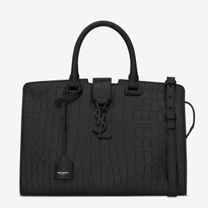 Saint Laurent All Black Small Cabas YSL Crocodile Embossed Bag