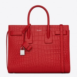 Saint Laurent Small Sac De Jour Bag In Red Crocodile Leather