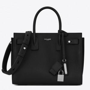 Saint Laurent Baby Sac de Jour Souple Bag In Black Grained Leather
