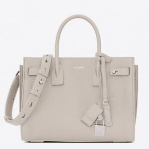 Saint Laurent Baby Sac de Jour Souple Bag In White Grained Leather
