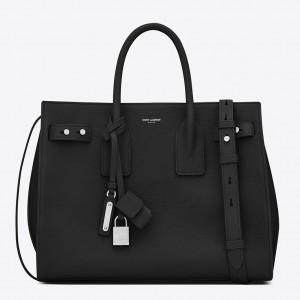 Saint Laurent Small Sac de Jour Souple Bag In Black Grained Leather