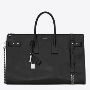 Saint Laurent Sac De Jour Souple 36 Duffle Bag In Black Moroder Leather