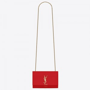 Saint Laurent Small Kate Bag In Red Grained Leather
