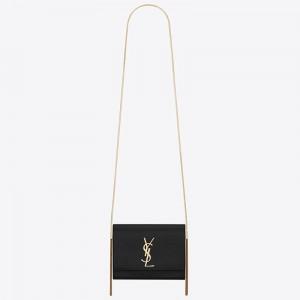 Saint Laurent Kate Box Bag In Black Grained Leather