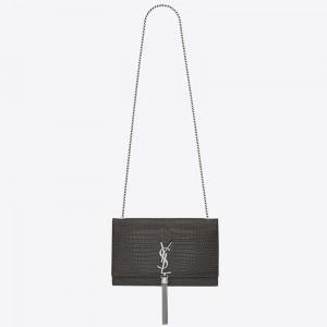 Saint Laurent Medium Kate Bag With Tassel In Storm Croc-Embossed Leather