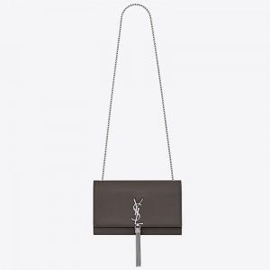 Saint Laurent Medium Kate Bag With Tassel In Grey Grained Leather