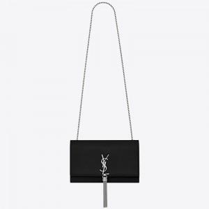 Saint Laurent Medium Kate Bag With Tassel In Black Grained Leather