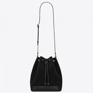 Saint Laurent Monogram All Over Bucket Bag In Black Suede