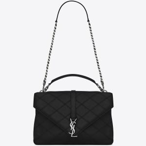 Saint Laurent Black Large Stitched Diamond Matelasse College Bag