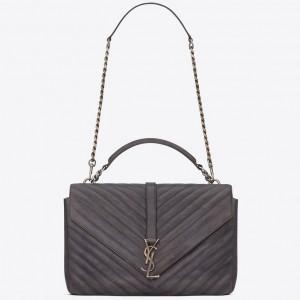 Saint Laurent Large Grey College Shoulder Bag