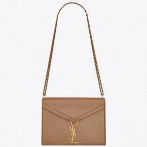 Saint Laurent Camel Cassandra Monogram Clasp Bag