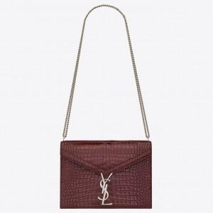 Saint Laurent Cassandra Clasp Bag In Bordeaux Croc-Embossed Leather