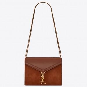 Saint Laurent Cassandra Clasp Bag In Brown Suede