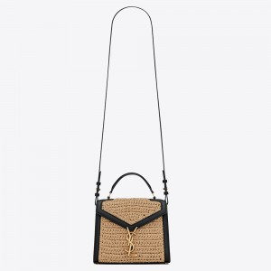 Saint Laurent Cassandra Mini Top Handle Bag In Raffia