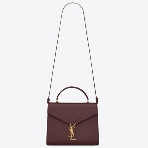 Saint Laurent Cassandra Medium Bag In Bordeaux Grained Leather