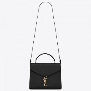 Saint Laurent Cassandra Medium Bag In Black Grained Leather