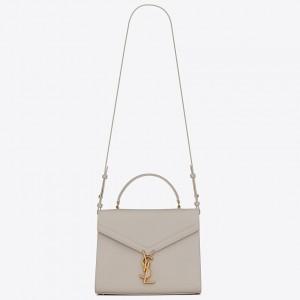 Saint Laurent Cassandra Medium Bag In White Grained Leather