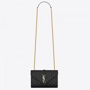 Saint Laurent Small Envelope Bag In Black Grained Leather