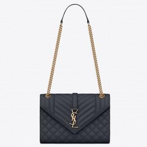 Saint Laurent Medium Envelope Bag In Navy Blue Grained Leather
