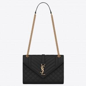 Saint Laurent Medium Envelope Bag In Black Grained Leather