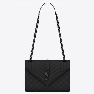 Saint Laurent Medium Envelope All Black Bag