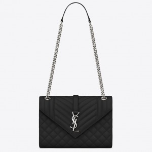 Saint Laurent Medium Envelope Bag In Noir Grained Leather