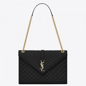 Saint Laurent Envelope Large Bag In Black Grained Leather