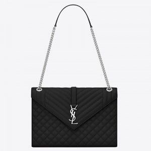 Saint Laurent Envelope Large Bag In Noir Grained Leather