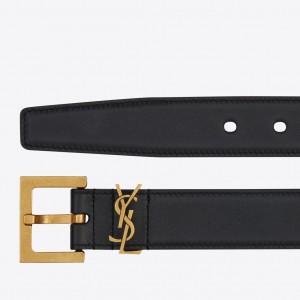Saint Laurent Monogramme Belt 30MM In Black Calfskin